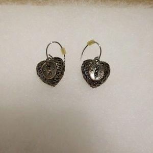 Fossil heart locket earrings
